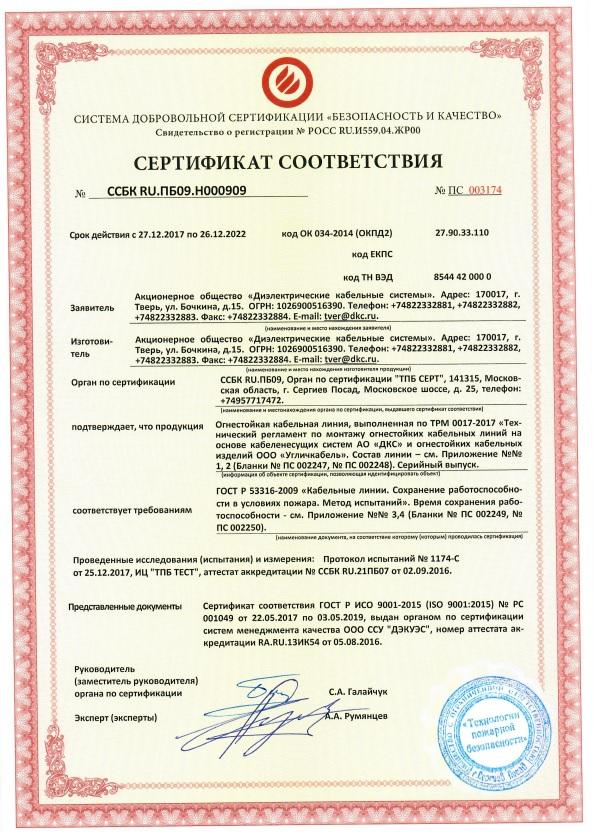 ООО Угличкабель по ТРМ 0017-2017