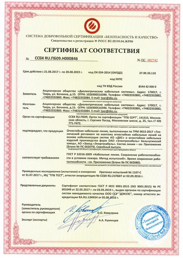 Энергокабель, Электрокабель. Кольчугинский завод по ТРМ 0015-2017 (5 MB)